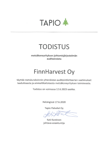 Picture of Tapio 2020 certificate that links to the PDF version